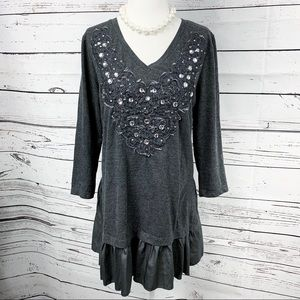Style & Co Gray Embellished Ruffled Tunic Top